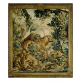 Tapestry Depicting Wild Beasts Fighting at a Watering Hole, Copy Giclee Print by Russian School
