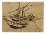 Fishing Boats on the Beach at Saintes-Maries-De-La-Mer, 1888 Reproduction proc&#233;d&#233; gicl&#233;e par Vincent van Gogh