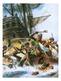 Abel Tasman's Ship Being Attacked by Maoris When Trying to Land on New Zealand Giclee Print by Andrew Howat
