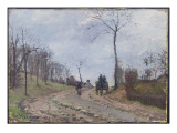 Carriage on a Country Road, Winter, Outskirts of Louveciennes, 1872 Giclee Print by Camille Pissarro