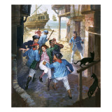 Roderick Random Being Pressganged and Carried Towards a Ship Giclee Print by Barrie Linklater