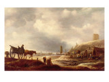 Fishermen Displaying their Catch in the Dunes, a Beach Beyond Giclee Print by Willem Kool or Koolen