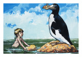 Boy and a Garefowl, Illustration from 'The Water Babies' by Charles Kingsley Giclee Print by Jesus Blasco