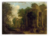 Wooded Landscape with Travellers Resting by Classical Ruins Giclee Print by Balthasar Beschey