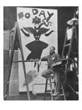 Dudley Hardy Painting a Poster for the Magazine Journal 'Today', C.1890S Reproduction procédé giclée par English Photographer