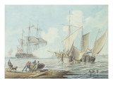 Dutch Pinks and a British Man-O&#39;-War Off a Coastline Giclee Print by George Webster