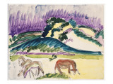 Cows in the Pasture by the Dunes, 1913 Giclee Print by Ernst Ludwig Kirchner