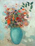 Flowers in a Turquoise Vase, C.1912 Giclée-tryk af Odilon Redon