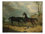 Hunters and a Spaniel in a Wooded Landscape, 1835 Giclee Print by John Frederick Herring Snr