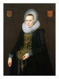 Portrait of Justina Van Teylingen, 1616 Premium Giclee Print by Cornelis van der Voort