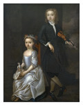 A Young Boy Holding a Violin and a Young Girl Holding a Doll Giclee Print by John Vanderbank