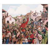 Guiseppe Garibaldi's Triumphant Arrival in Naples Giclee Print by Ron Embleton