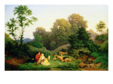 Shepherd and Shepherdess in a German Landscape, 1844 Giclee Print by Ludwig Adrian Richter
