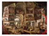 Interior of an Imaginary Picture Gallery Reproduction giclée Premium par Giovanni Paolo Pannini