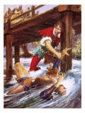 Robin Hood Rescuing Little John from a River Giclee Print by John Millar Watt