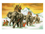 Hannibal's Army on Elephants Giclee Print by  English School