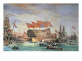 The Launching of Hms 'Trafalgar' at Chatham, July 1820 Giclee Print by C. John Mayle Whichelo
