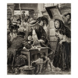 An Eighteenth Century Pawnbroker and His Customers Giclee Print by C.l. Doughty