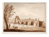 Ponte Milvio, or Ponte Molle, 1833 Giclee Print by Agostino Tofanelli