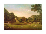 Studley Park: View with Figures, Huntsmen and Deer Reproduction procédé giclée par Balthasar Nebot