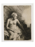 A Woman at the Bath with a Hat Beside Her, 1658 Giclee Print by  Rembrandt van Rijn