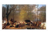 Sugaring Off at the Camp, 1864-66 Reproduction proc&#233;d&#233; gicl&#233;e par Eastman Johnson