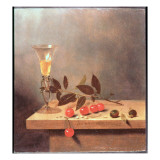 Facon De Venise Wine Glass and Cherries on a Ledge Giclée-Druck von Jan III van de Velde