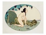 Satyr and Nymph, Illustration from the Pleasures of Eros, 1917 Giclee Print by Gerda Marie Frederike Wegener