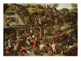 Netherlandish Proverbs Illustrated in a Village Landscape Giclee Print by Pieter Bruegel the Younger