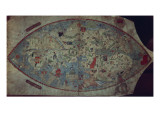 Genoese World Map, Designed by Toscanelli Premium Giclee Print by  Italian School