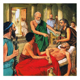 Hippocrates Discouraging the Use of Primitive Medical Techniques Giclee Print by Clive Uptton