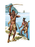 Red Indians Seeing a European Ship for the First Time Giclee Print by Ron Embleton