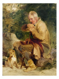 An Old Man and His Dog Seated by a Road Side Giclee Print by Edwin Henry Landseer