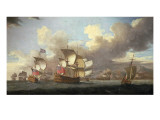 Sir George Byng in the Straits of Messina Giclée-Druck von Richard Vale
