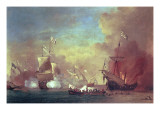 Barbary Pirates Attacking a Spanish Ship Giclée-Druck von Willem van de II Velde
