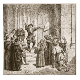 Aske Affixing His Proclamation to the Door of York Cathedral Giclee Print by Edouard Zier