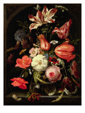 Still Life of Flowers on a Ledge Giclee Print by Abraham Mignon