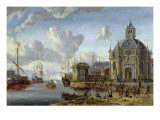 A Capriccio Mediterranean Harbour with a Galley at Anchor Giclee Print by Abraham Storck