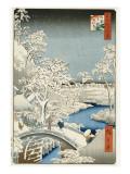 Ando Hiroshige - Drum Bridge and 'setting Sun' Hill, Meguro Digitálně vytištěná reprodukce
