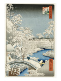 Drum Bridge and 'setting Sun' Hill, Meguro Premium Giclee Print by Ando Hiroshige