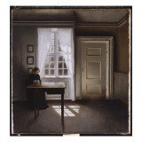 A Woman Sewing in an Interior, 1901 Giclee Print by Vilhelm Hammershoi