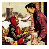 Paper Boy Receiving His Christmas Box Giclee Print by English School