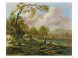 A Wooded River Landscape with Peasants on a Path Reproduction procédé giclée par Jan Wynants