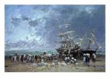 Unloading the Newfoundland Fishing Boat, 1873 Premium Giclee Print by Eugène Boudin