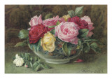 Still Life with a Bowl of Pink, Yellow and Red Roses, 1883 Giclee Print by Constance Lawson