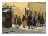 A Street Scene, Outside a Prison, 1868 Giclee Print by Vasili Georgievich Malyschev