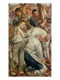 The Men, Left Panel from the Age of the Worker Reproduction procédé giclée par Leon Henri Marie Frederic