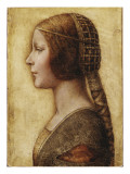 Head of a Young Girl in Profile to the Left in Renaissance Dress Giclée-tryk af German School