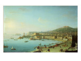 View of Naples with the Castel Nuovo Giclée-tryk af Antonio Joli