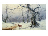 A Stag in a Wooded Landscape Giclee Print by Nils Hans Christiansen